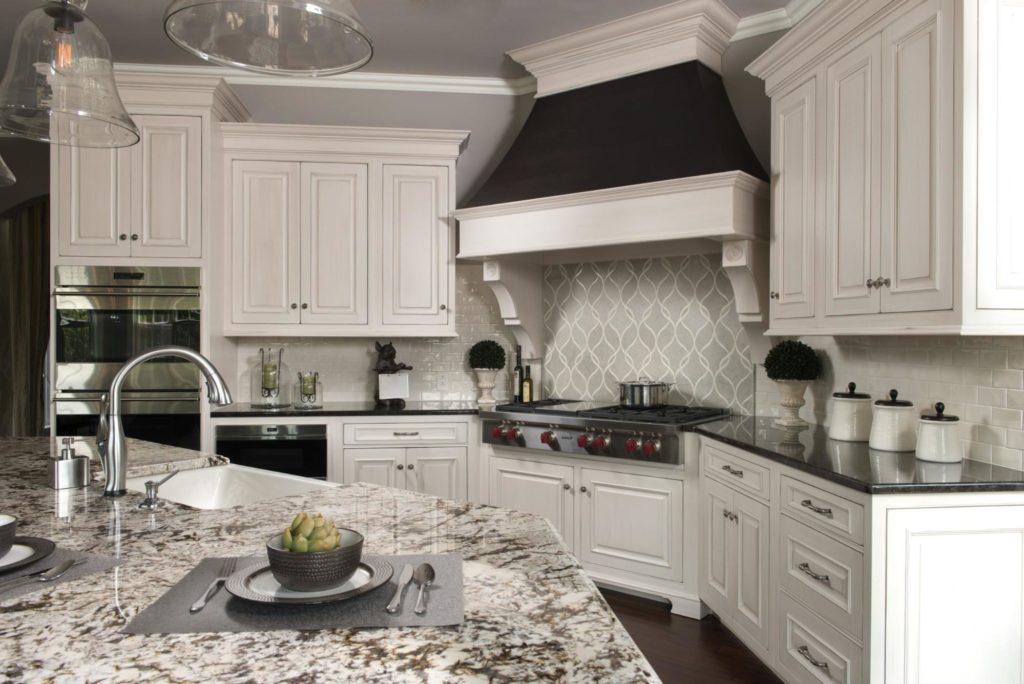 A granite kitchen island countertop