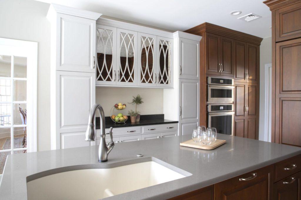 A grey quartz countertop on a kitchen island