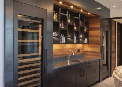 Built in wine fridge and wet bar