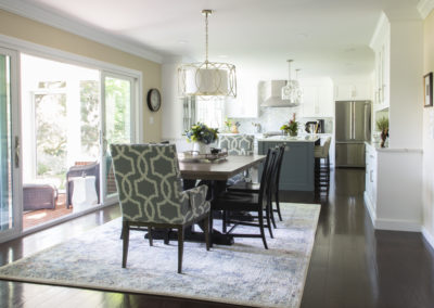 Dining area with chandelier, dining table, and chairs