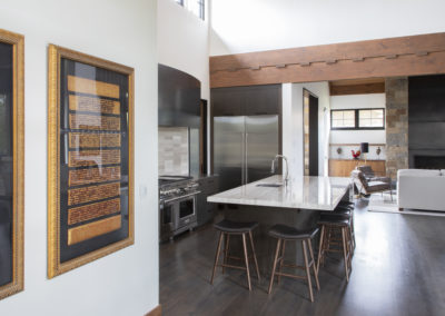 Remodeled kitchen island with barstools