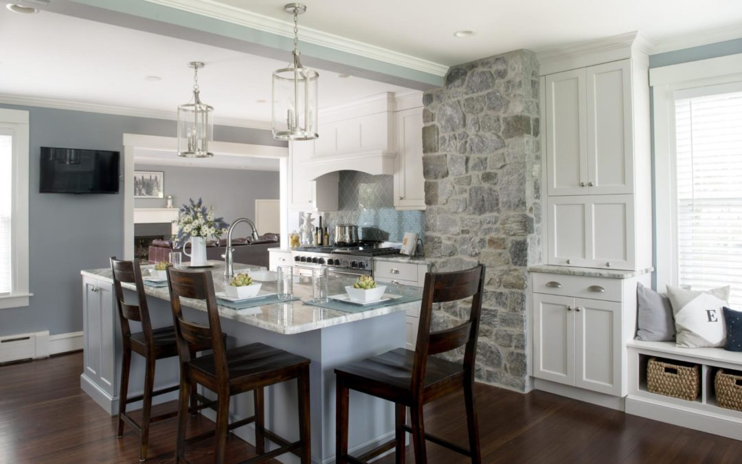 A transitional style kitchen is homey and timeless.