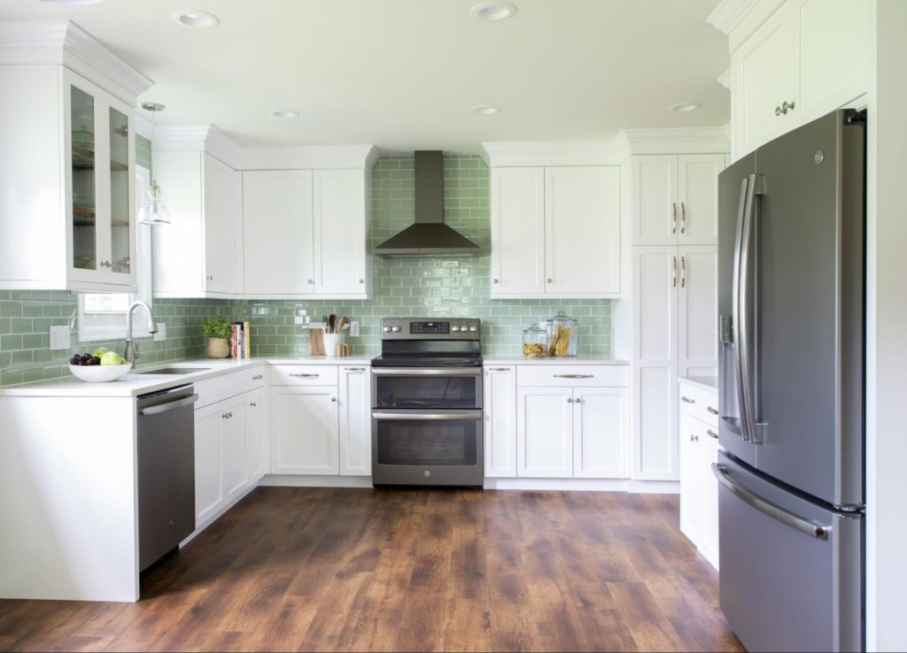 This contemporary kitchen showcases the trends and finishes that are currently in style.