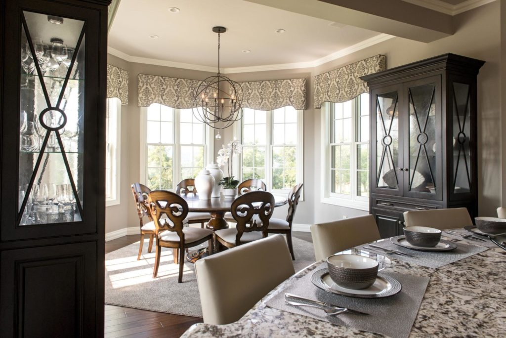 This traditional kitchen and dining room have plenty of unique details and textures.