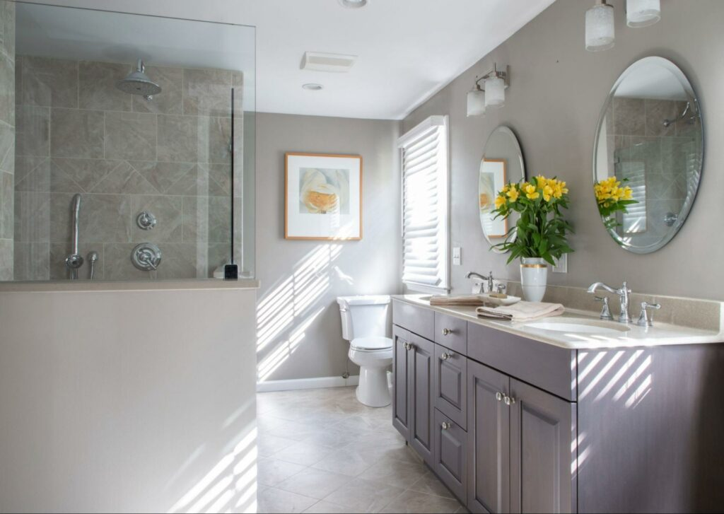 A bathroom renovation completed by Kitchens by Eileen.