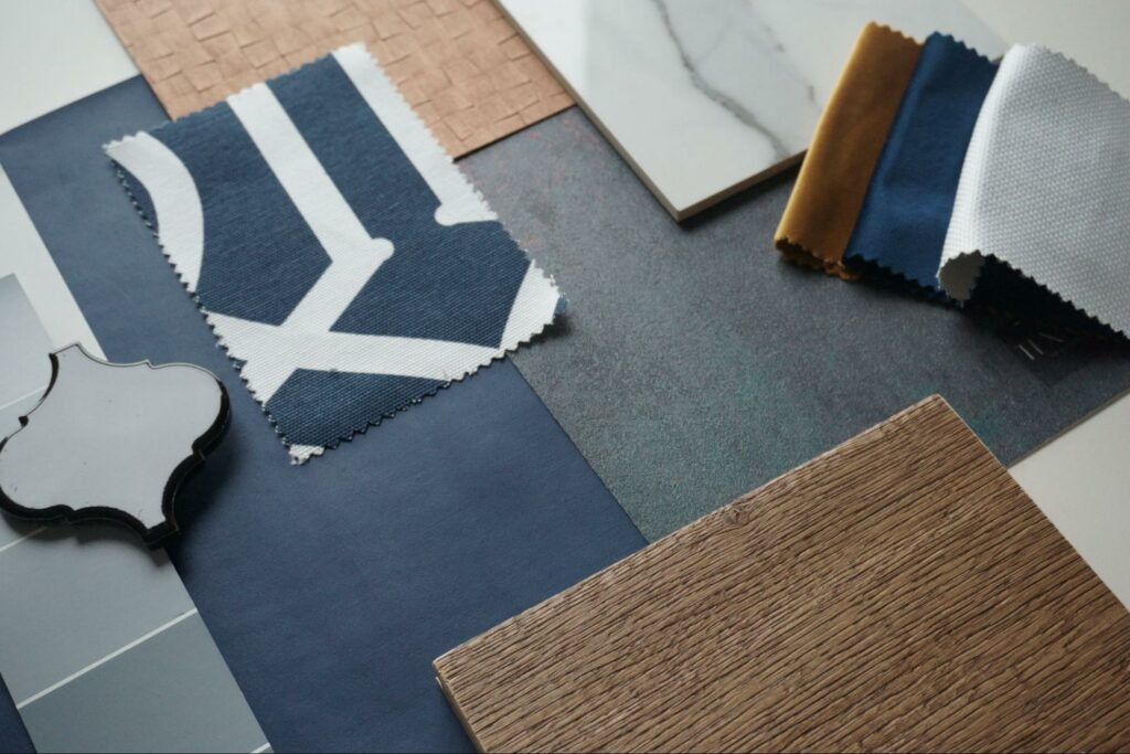 A variety of finishes, textures, and elements selected for a home remodel.